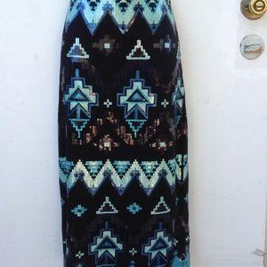 Sequin tribal print knee length pencil skirt stret